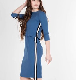 UNCLEAR Unclear Ribbed Overlay Dress with Side Stripe