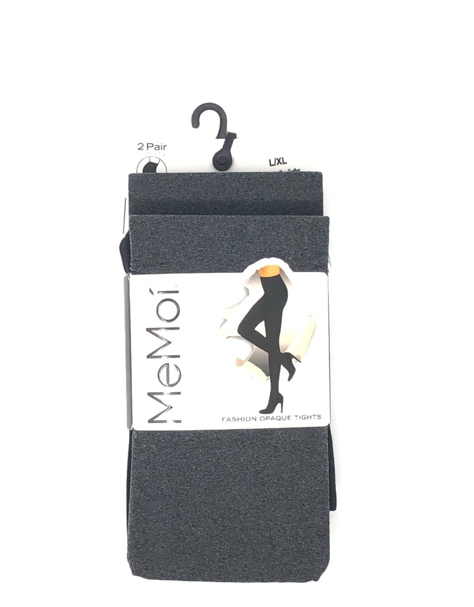 Memoi Memoi Heather Microfiber Opaque Control Top Tights 2-Pack