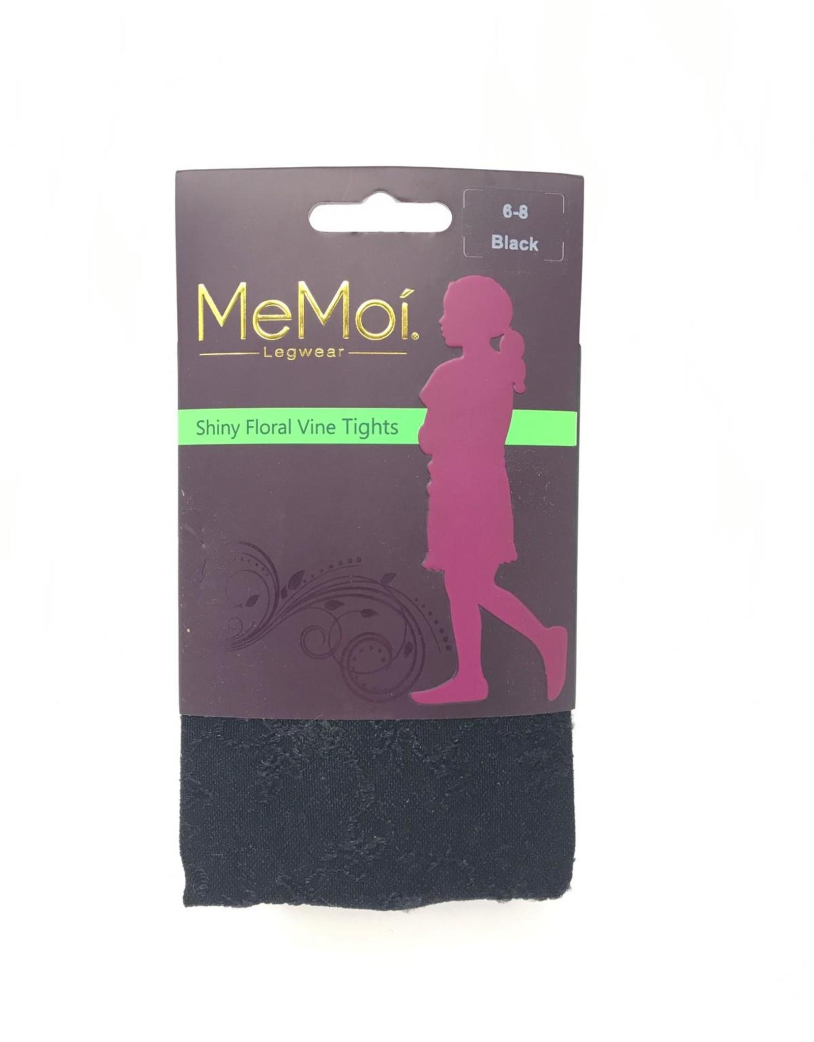 Memoi Memoi Girls Shiny Floral Microfiber Tights