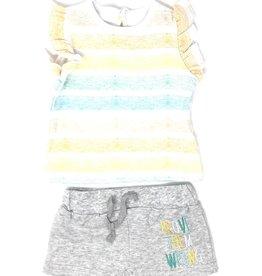 Asher and Olivia Asher and Olivia Multi Stripe/Heather Grey Set