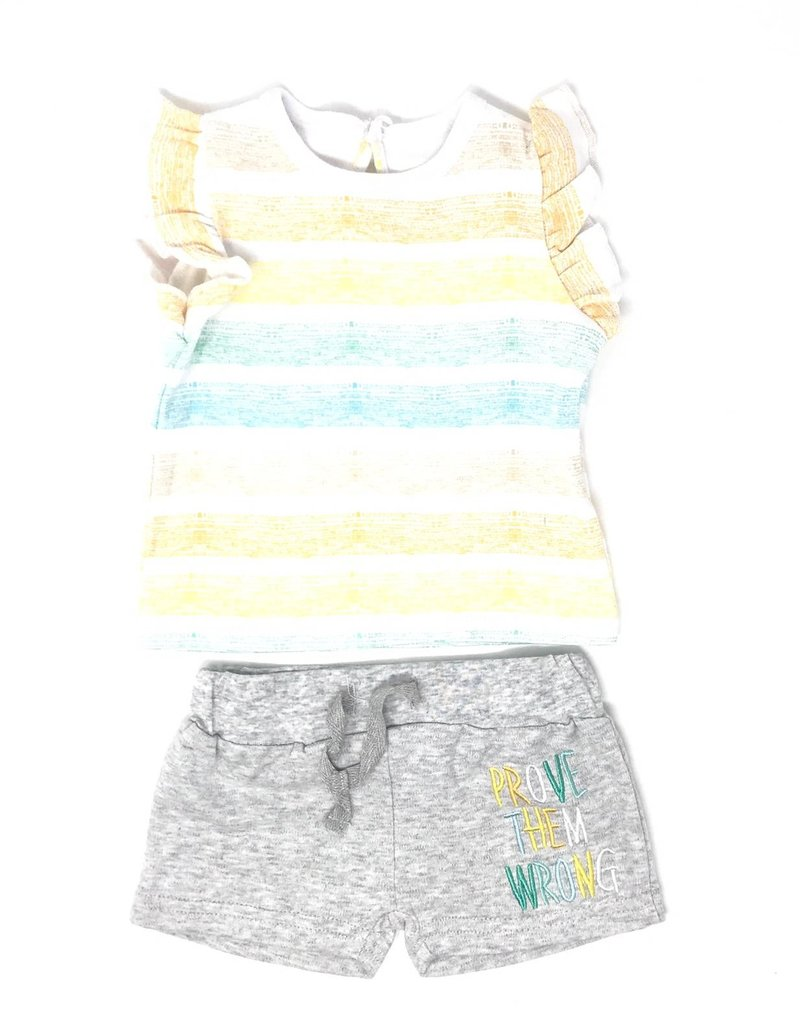 Asher and Olivia Asher and Olivia Multi Stripe/Heather Grey Set