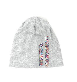 Mad Hatter Mad Hatter Ribbed Beanie with Vertical Chevron Mirrored Glass