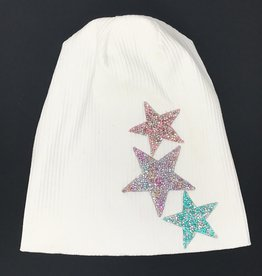 Mad Hatter Mad Hatter Ribbed Beanie with Rock Cluster Stars