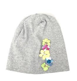 Mad Hatter Mad Hatter Ribbed Beanie with Beaded Flowers