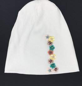 Mad Hatter Mad Hatter Ribbed Beanie with Mini Beaded Flowers