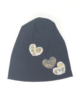Mad Hatter Mad Hatter Ribbed Beanie with Rock Cluster Hearts