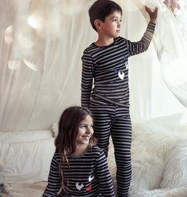Noggi Noggi Ribbed Striped Smile 2 Piece Pajama