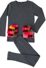 Noggi Noggi Ribbed Fur Pocket 2 Piece Pajama