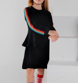 LUX Lux Velour Tiered Dress with Rainbow Sleeves