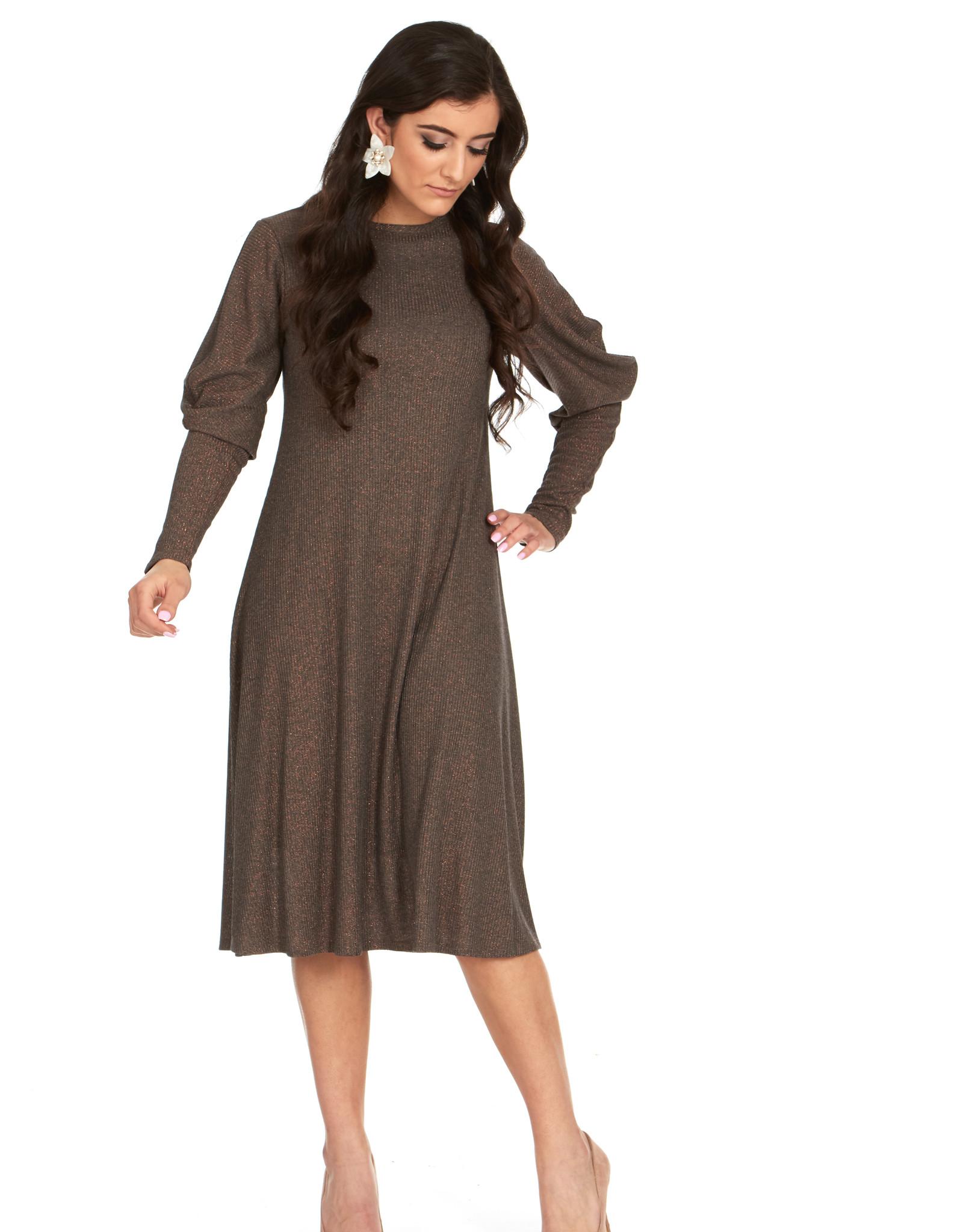 Bella Donna Bella Donna Draped Sleeve Dress with Lurex