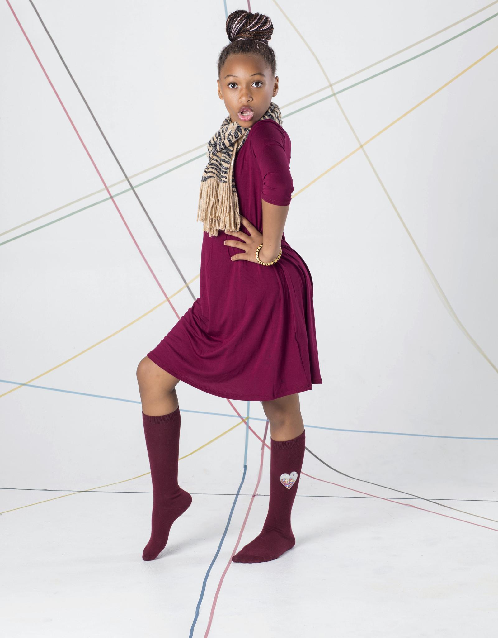Blinq Blinq Sequin Filled Heart Patch Knee Sock