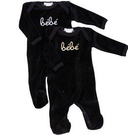 Coton PomPom Coton Pompom Velour Black Bebe Stretchie