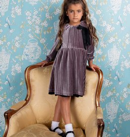 Milk Milk Crinkle Velour Dress with Contrast Bow