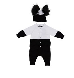 Small Moments Small Moments Colorblock Knit Romper With Hat