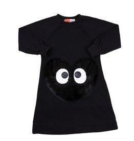Dot & Line Dot & Line Black Dress with Furry Heart