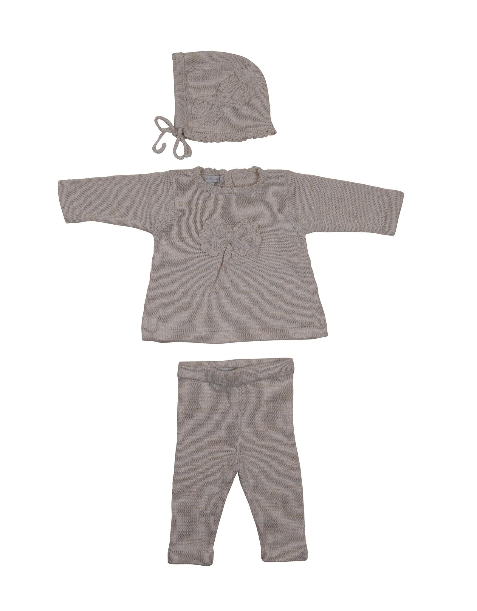Chant De Joie Chant De Joie 3 Piece Knit Set with Lurex (Shirt/Pants/Bonnet)