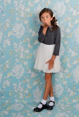 Lola Lola Two Tone Dress with Sequin Collar and Pleated Bottom