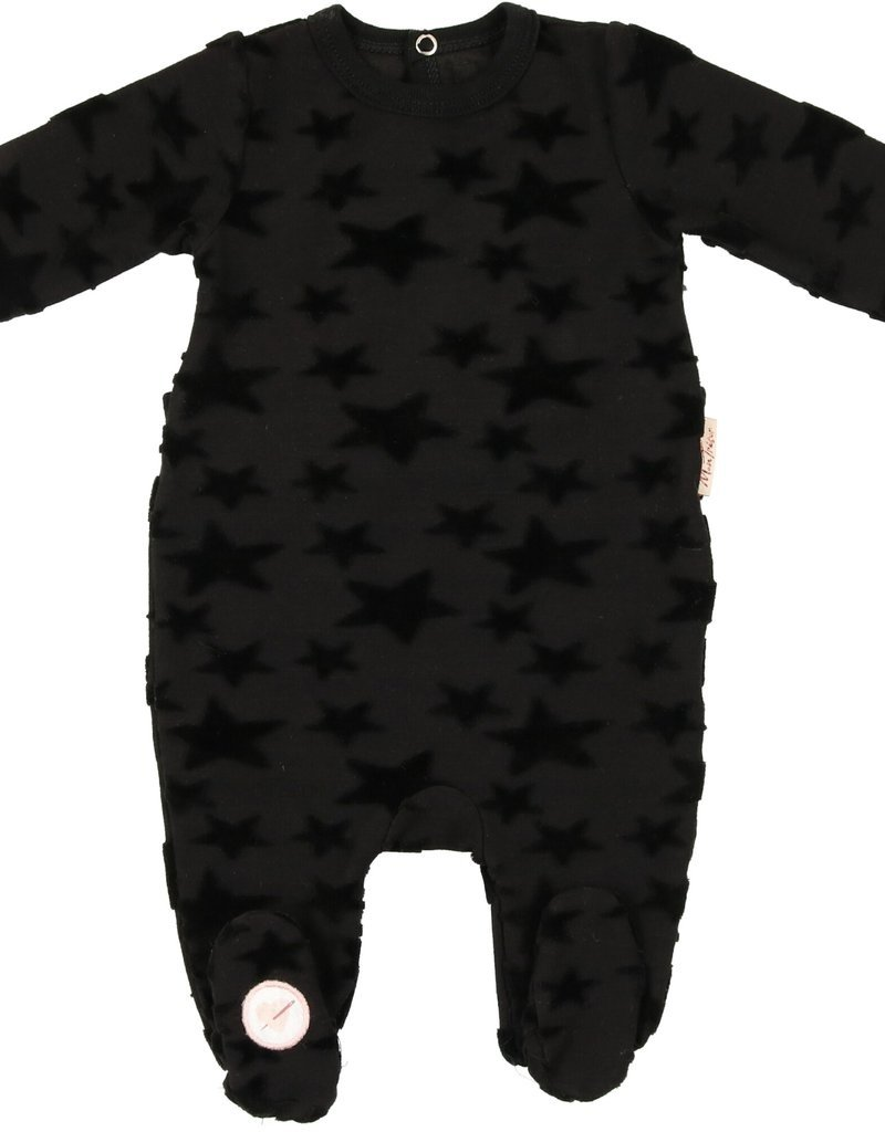 Mon Tresor Mon Tresor Black Footie with Tone Stars
