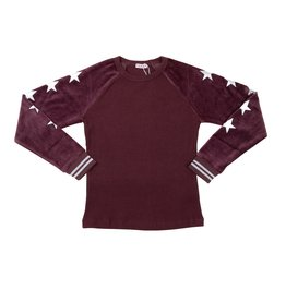 FIVE STAR Five Star Ribbed Top with Stars and Velour Sleeves