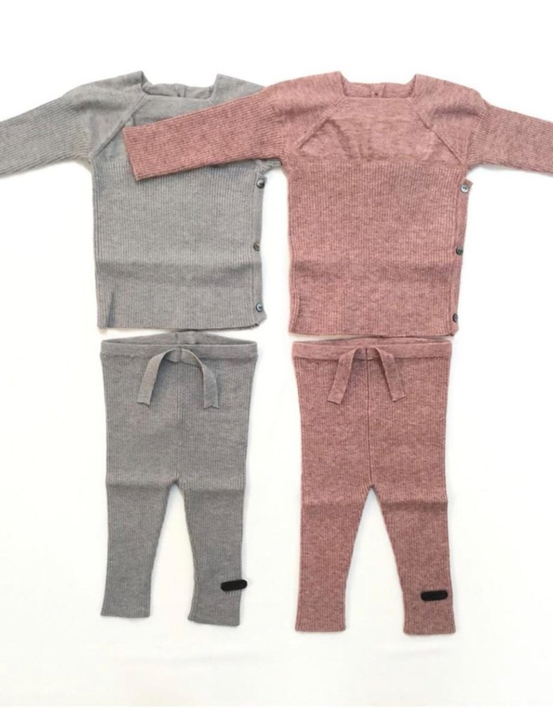 FRAGILE Fragile 2 Piece Knit Rib Set with Side Buttons