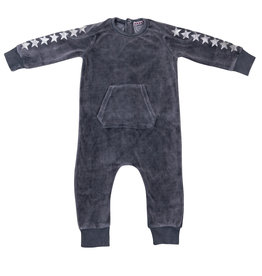 FIVE STAR Five Star Velour Kangaroo Pocket Romper with Stars