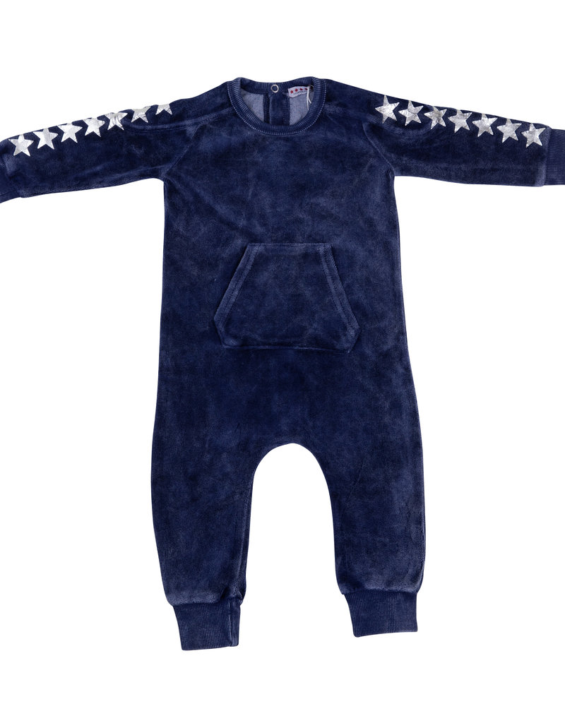 FIVE STAR Five Star Velour Kangaroo Pocket Romper with Stars