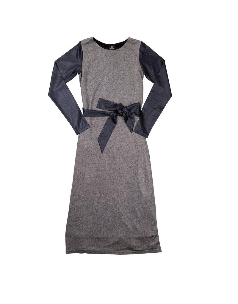 Daniella Faye Daniella Faye Shimmer Dress with Leather Sleeves