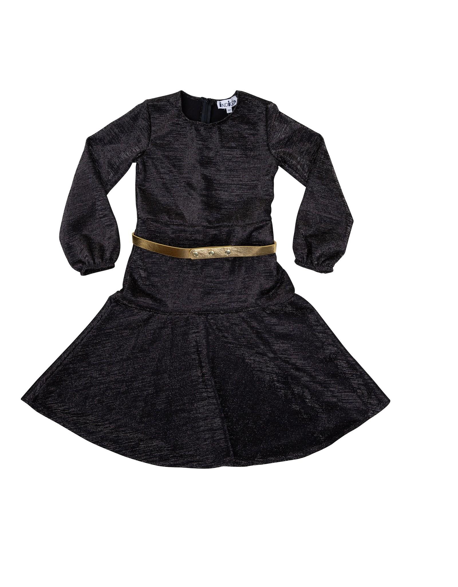 Indigo Indigo Metallic Fit and Flare Dress