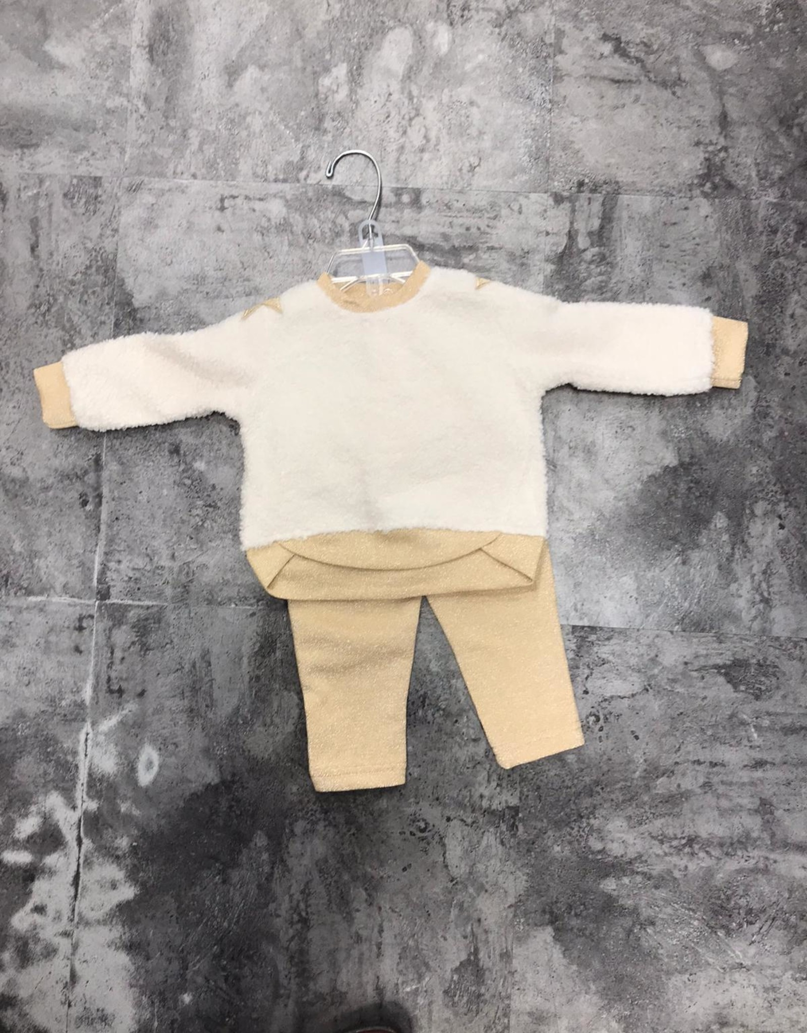 Andy & Evan Andy & Evan Sherpa 2 Piece Set with Gold Pants