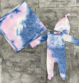 HATCH'd HATCH'd Tie Dye 3 Piece Set Footie/Hat/Blanket