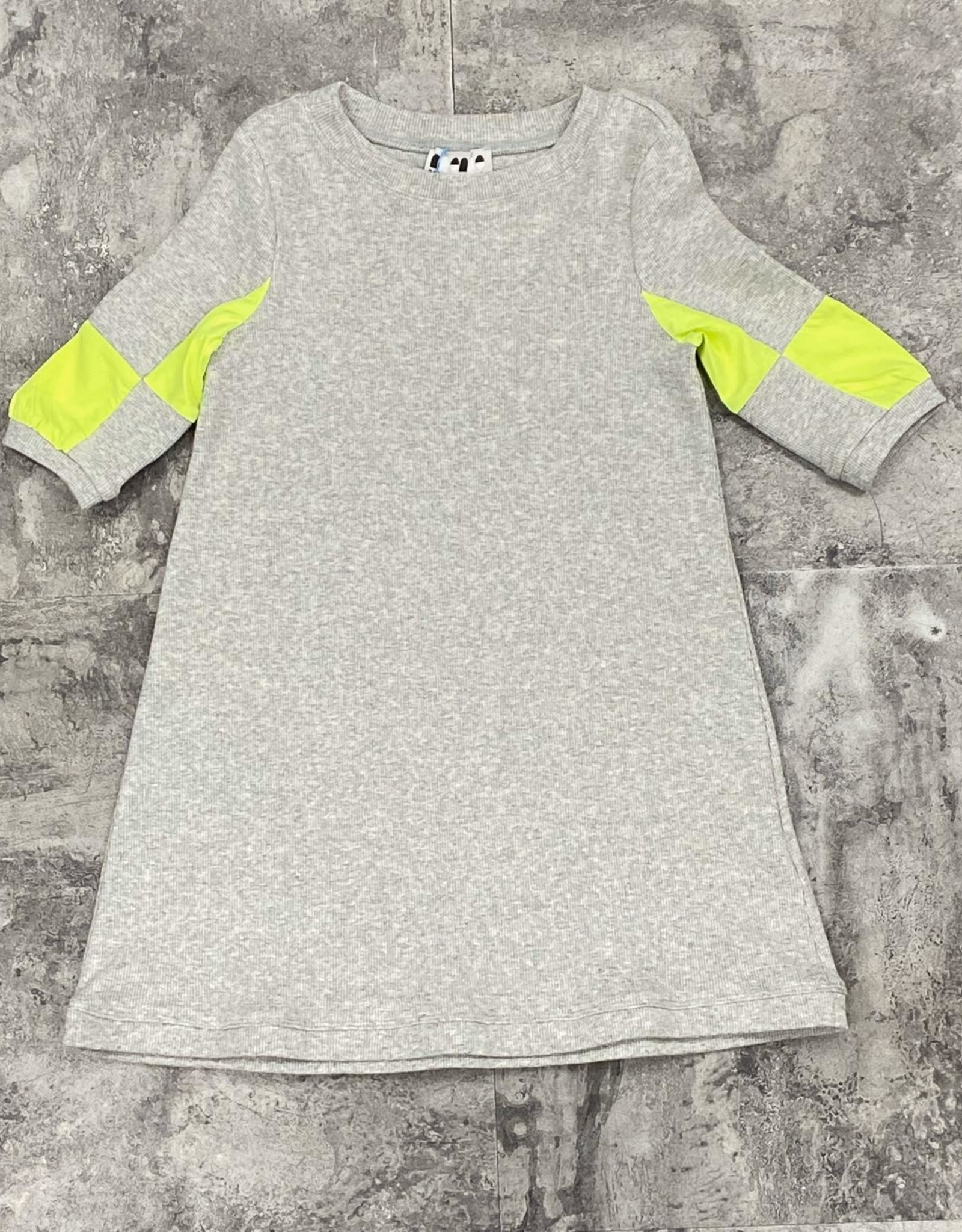 Miss Meme Miss Meme Ribbed Dress with Neon Colorblock Sleeve
