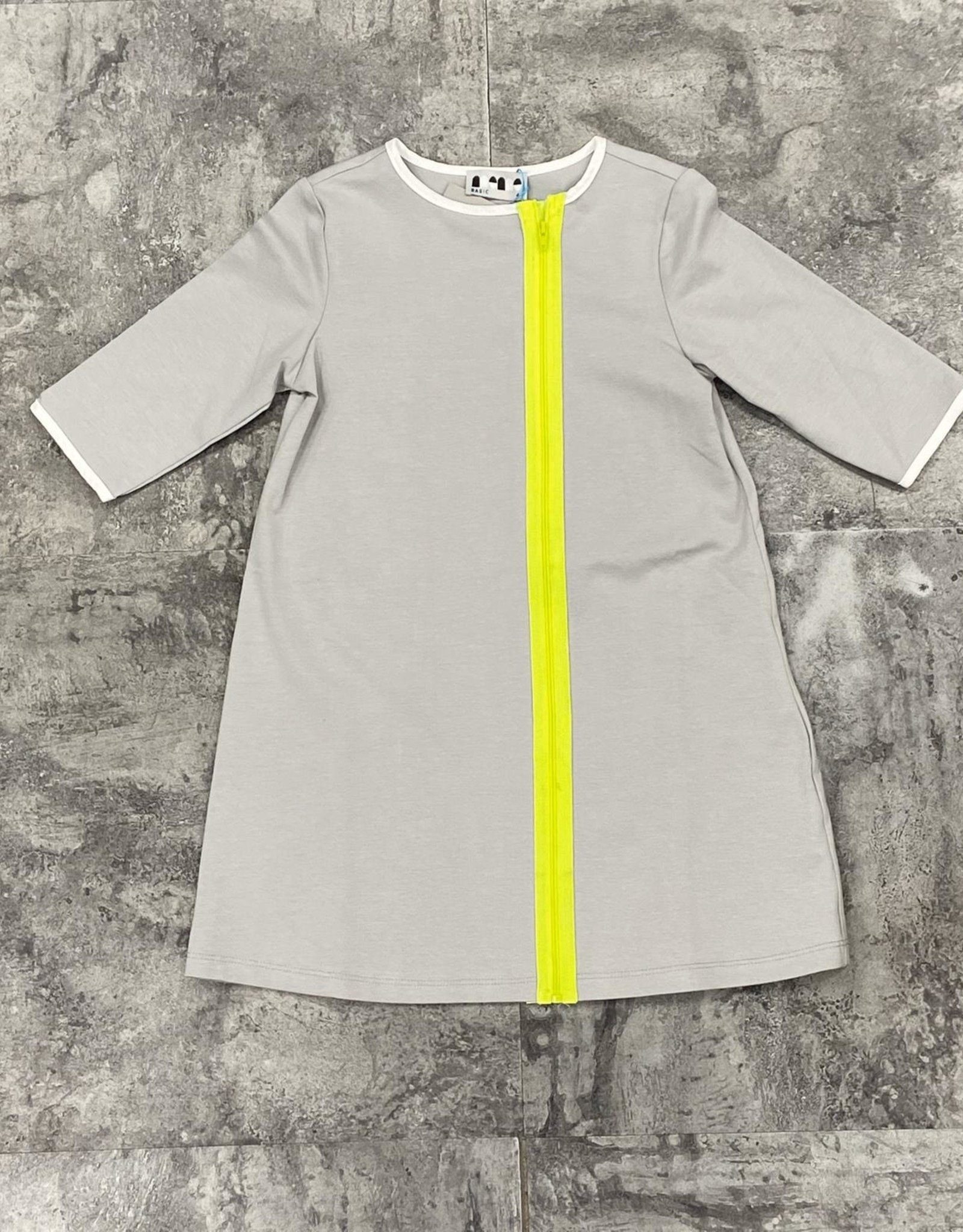Miss Meme Miss Meme Neon Front Zipper Dress with White Trim