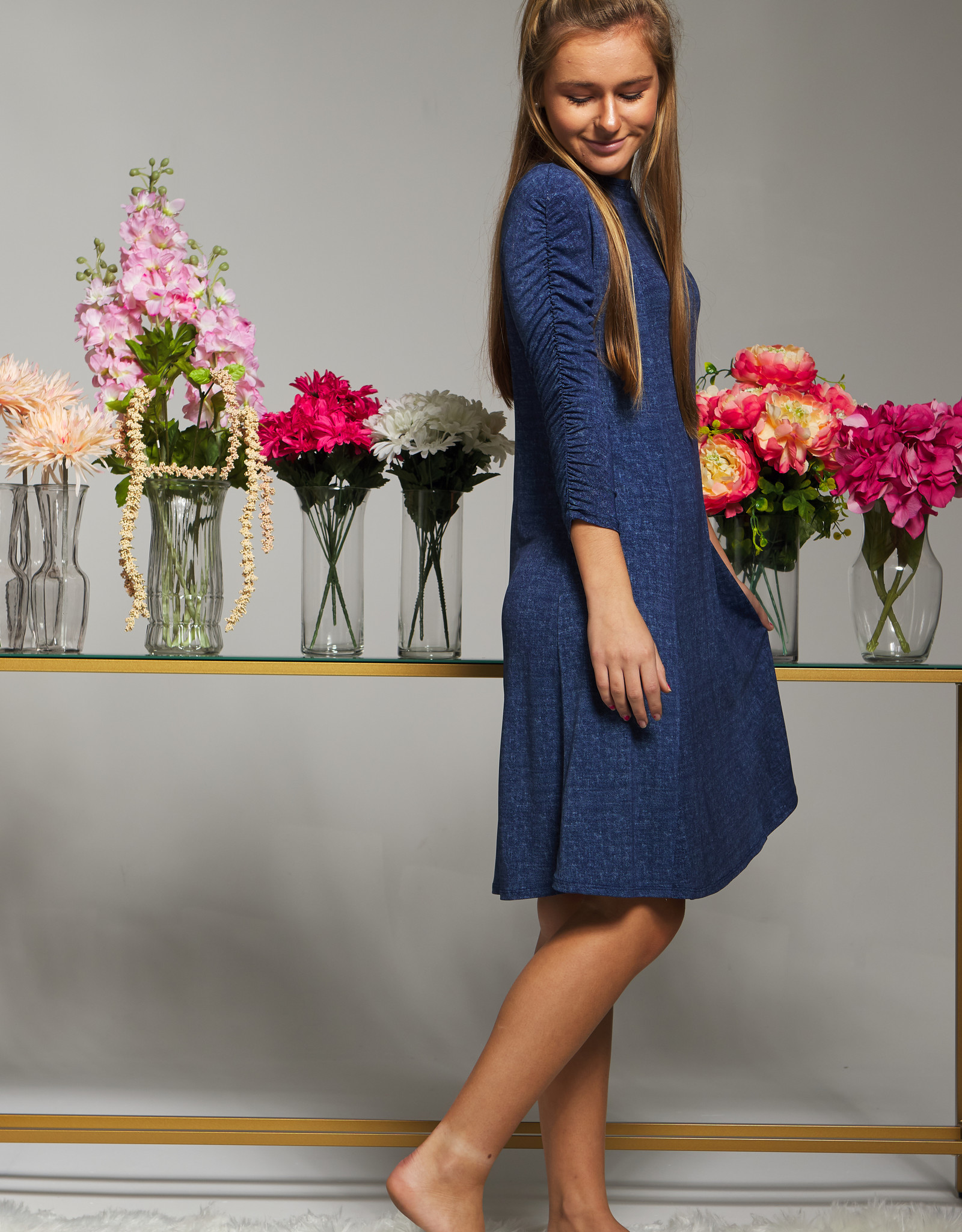 Indigo Indigo Aline Dress with Ruched Sleeve