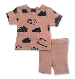 Small Moments Small Moments Two Piece Baby Set with Cloud Print (Tob/Shorts)