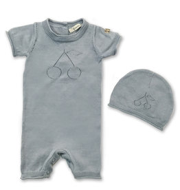 FRAGILE Fragile Knit Overall with Cherry Print Set (Overall/Hat)