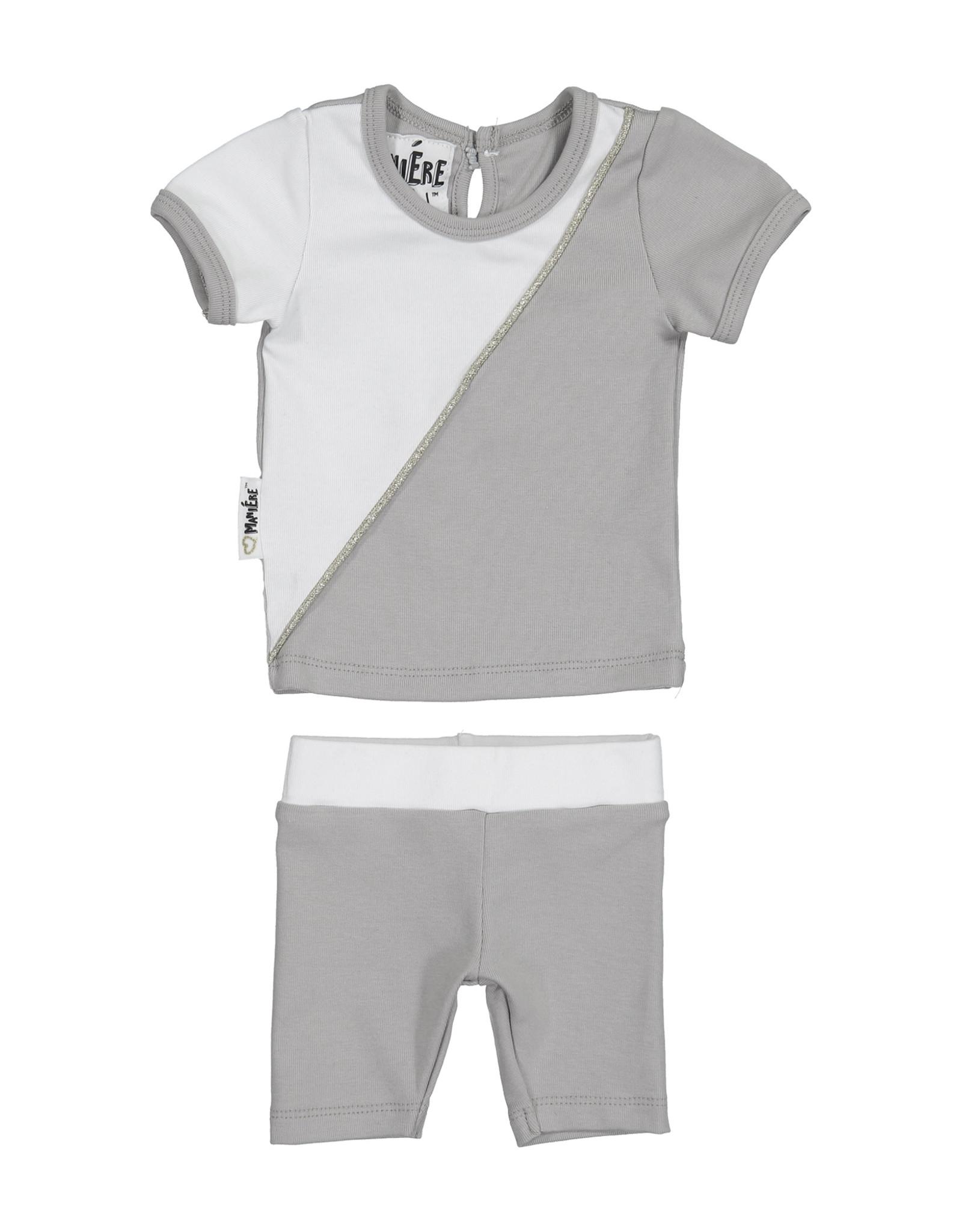Maniere Maniere Diagonal Cording Set (Short Sleeve Top/Shorts)