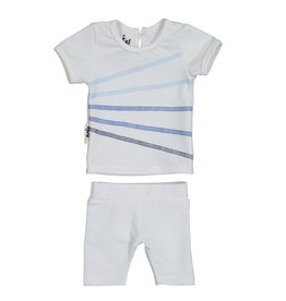 Maniere Maniere Short Sleeve/Shorts Set with Ombre Stitching