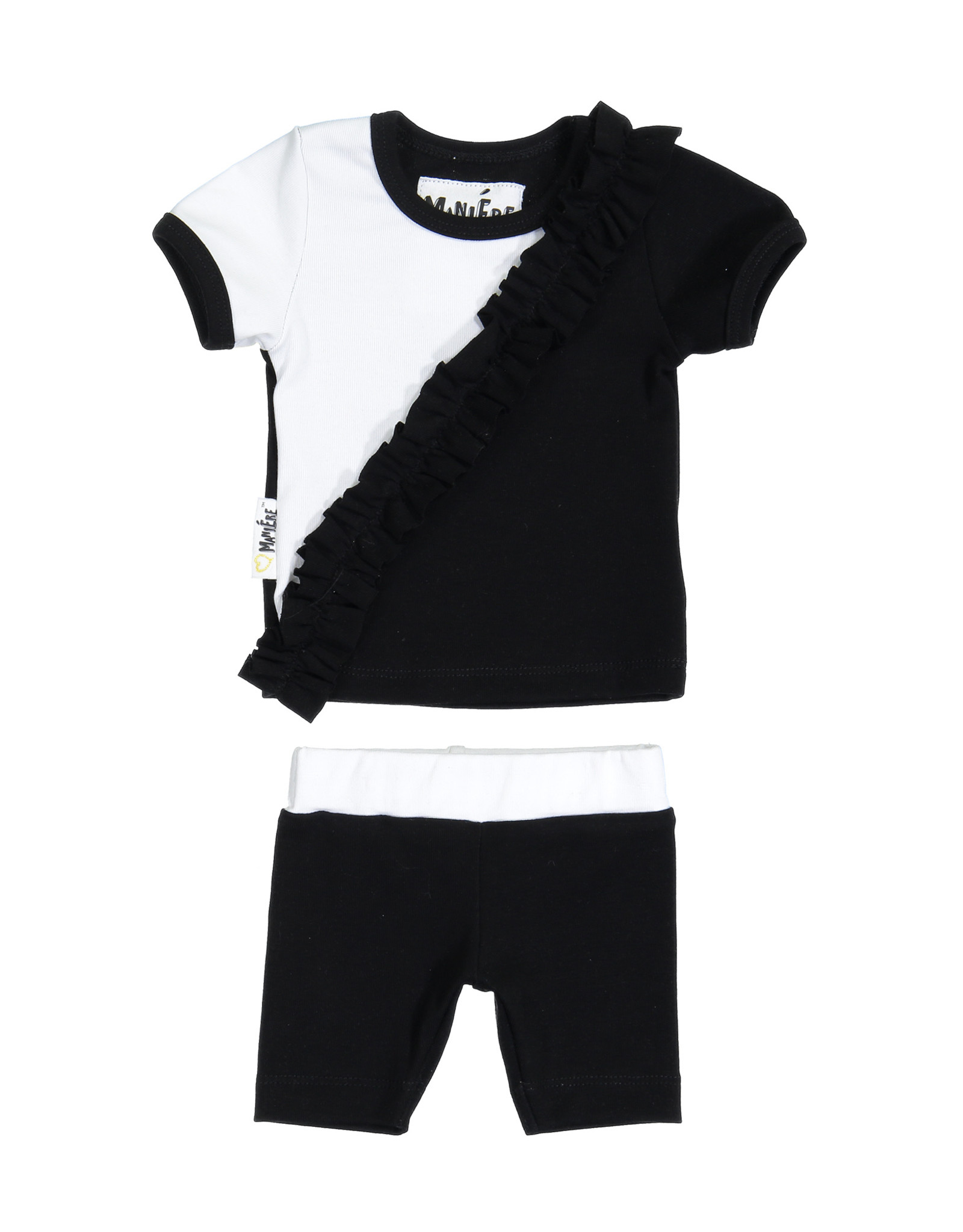Maniere Maniere Diagonal Ruffle Set (Short Sleeve Top/Shorts)