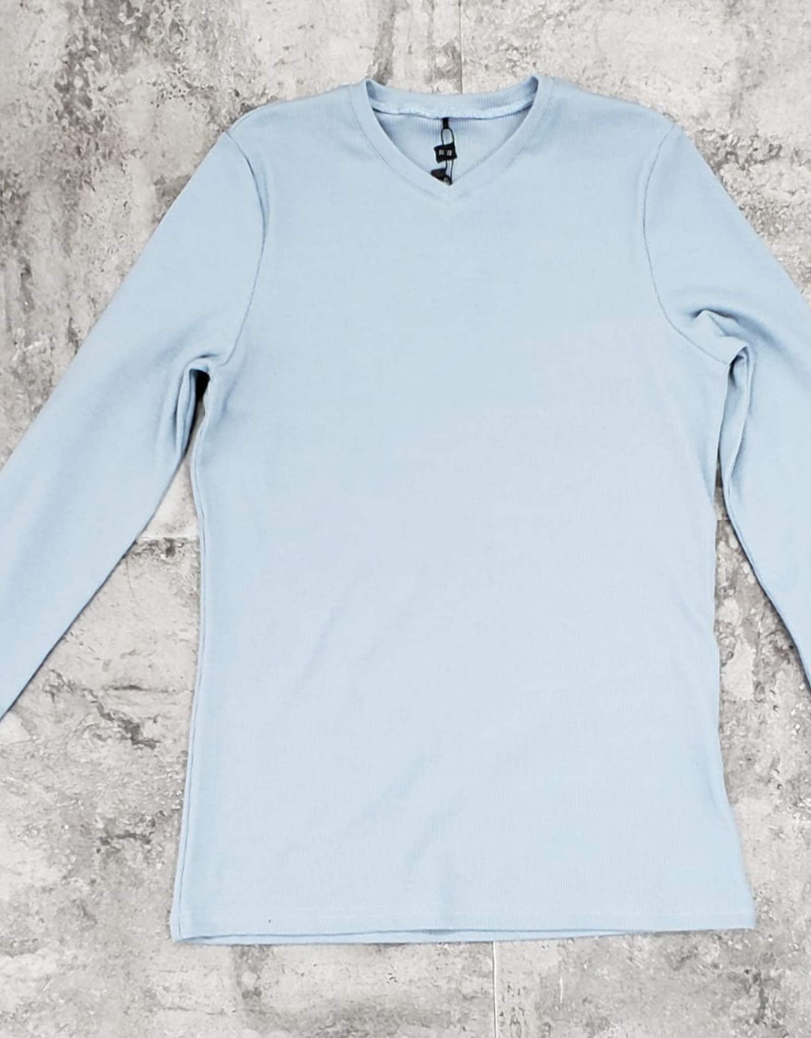 Riff Riff Ribbed Vee Neck Long Sleeve Tshirt