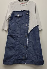 Smile Everyday Smile Everyday Denim/Cotton Dress with Faux Buttons