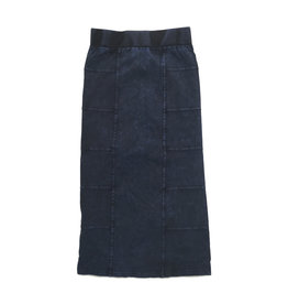 So What So What Denim Wash Long Skirt with Side Cuts