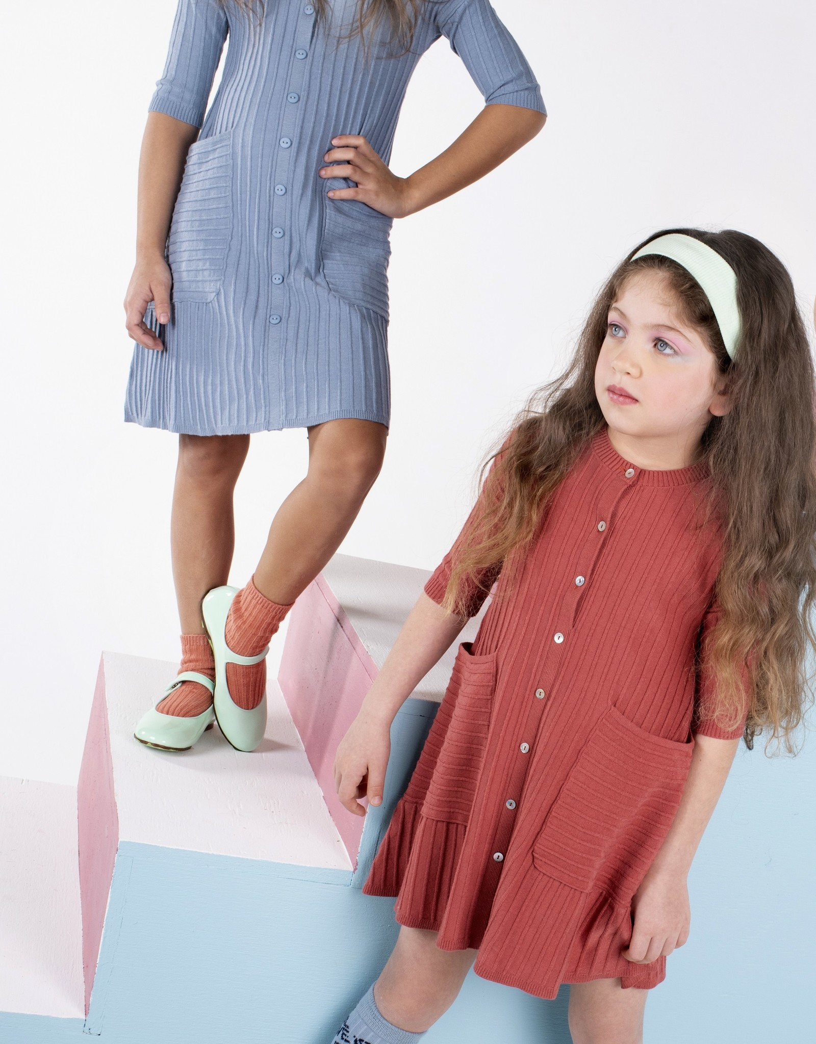 Umbrella Umbrella Knit Dress with Front Buttons and Oversized Pockets
