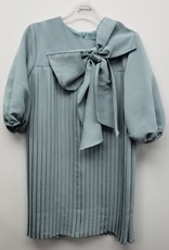Tiffany Tiffany Accordion Pleated Dress with Big Bow and Bubble Sleeves