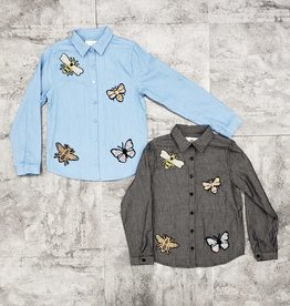 Tikie Tikie Chambray Blouse with Insect Appliques