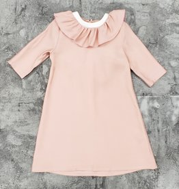 Abigail Abigail Shimmer Dress with Ruffle Collar and Ruffle V with Bow in Back