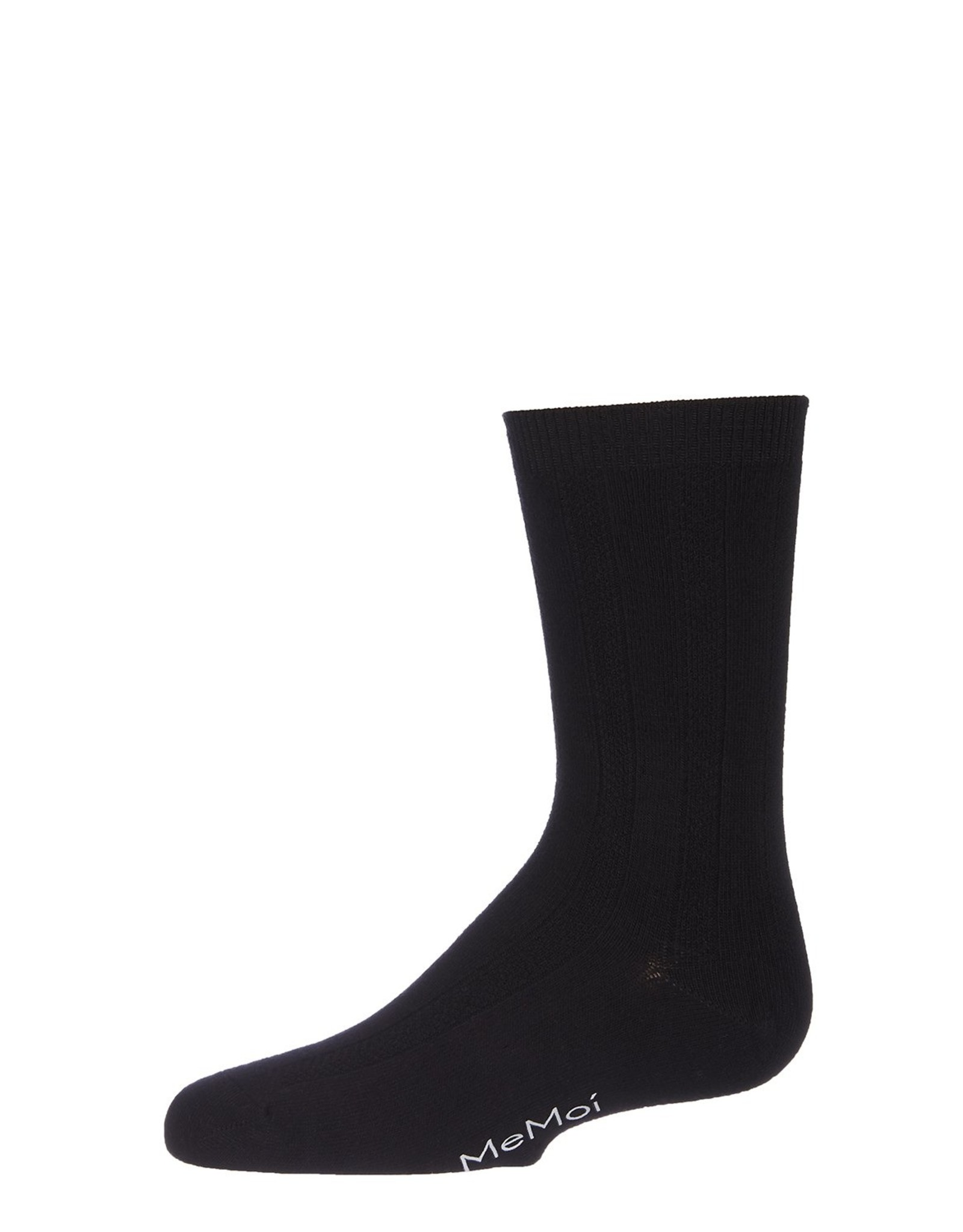 Memoi Memoi Boys Bamboo Woven Ribbed Sock