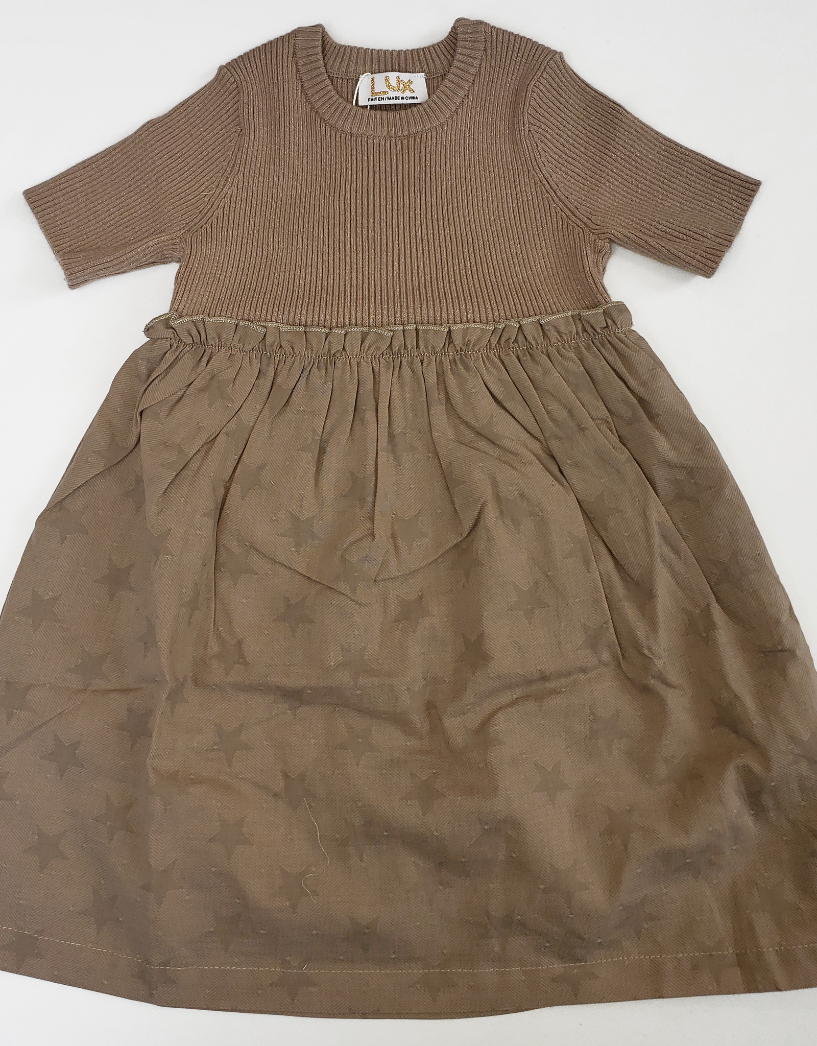 LUX LUX High-Waisted Dress with Ribbed Knit Top and Star Print Bottom