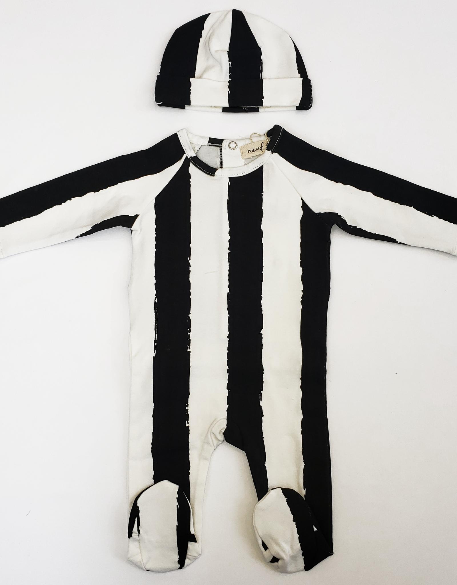 Neuf 9 Neuf 9 Vertical Stripe Footie with Hat