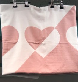FRAGILE Fragile Colorblock Knit Blanket with Hearts