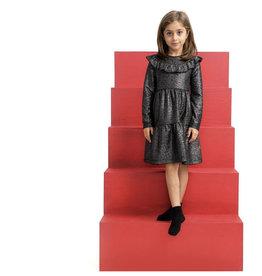 Clo Clo Shimmer Tiered Dress with Ruffle Neck